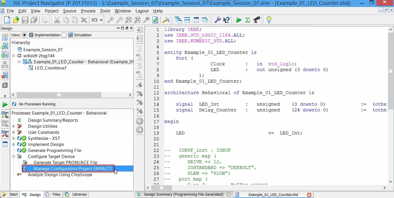 نحوه باز کردن نرمافزار iMPACT از دل نرمافزار ISE