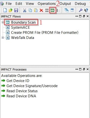 مراحل شناسایی FPGA روی بُرد توسط نرمافزار iMPACT