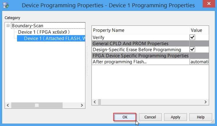 مراحل پروگرام کردن فلش جانبی FPGA