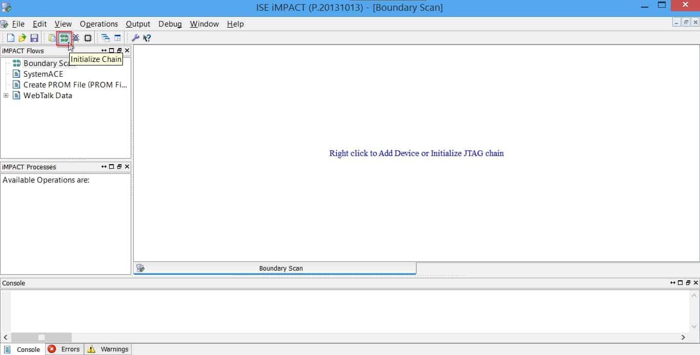 انتخاب گزینه Initialize Chain برای شناسایی FPGA توسط نرمافزار iMPACT