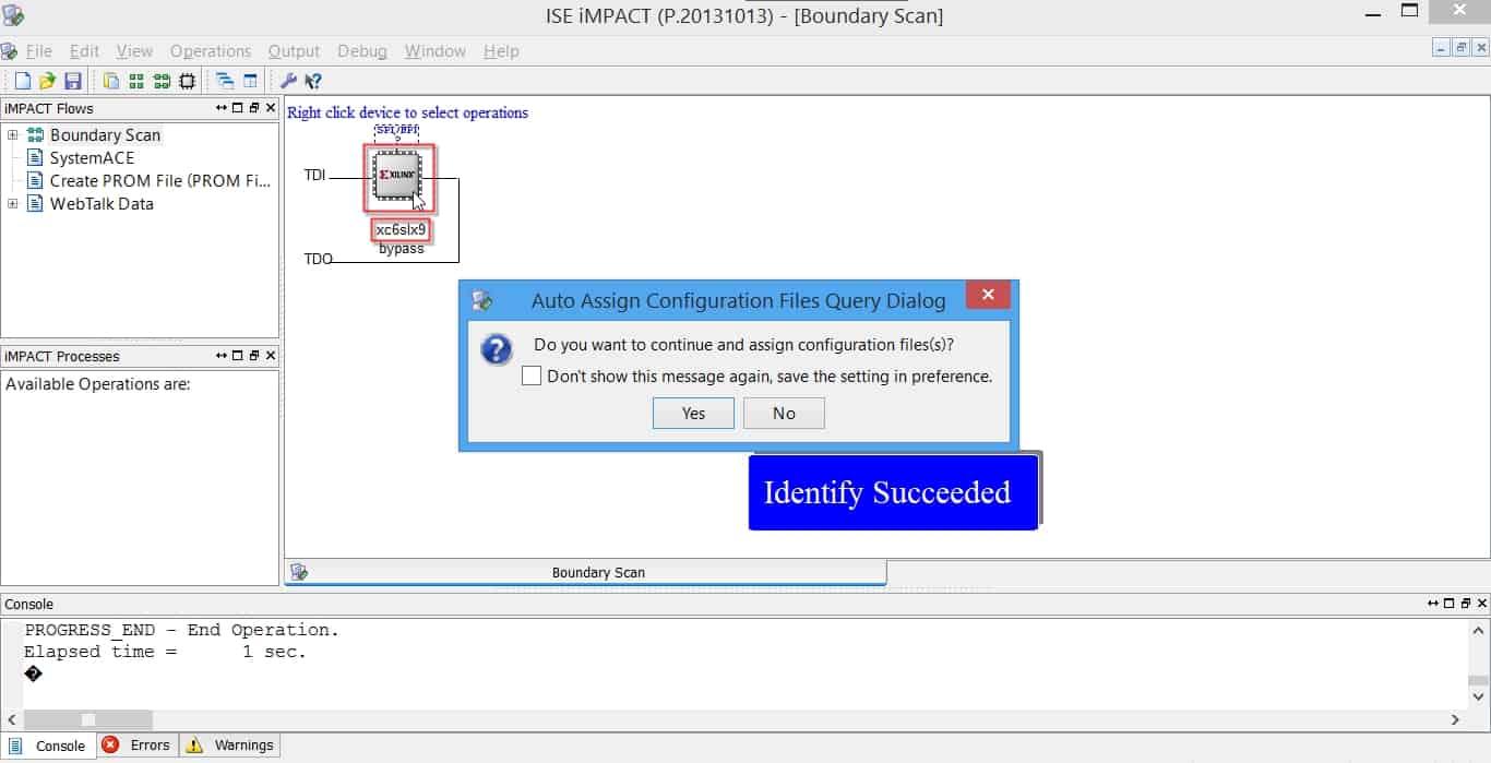 شناسایی FPGA توسط نرمافزار iMPACT
