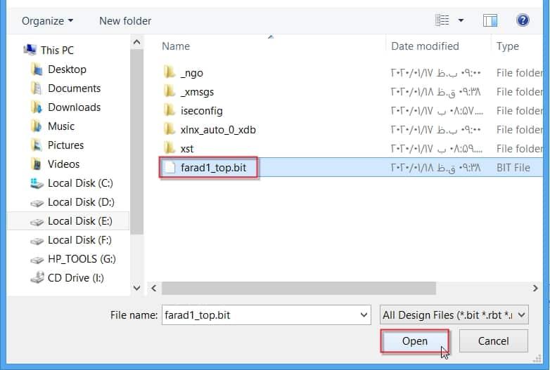 اعمال فایل پیکربندی (بیتفایل) به FPGA